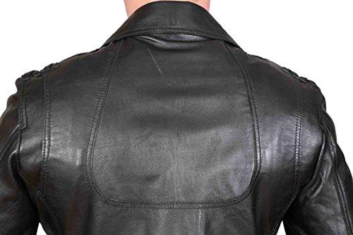 Hommes Safari RÉAL Veste En Cuir NOIR Blazer Ajusté Designer Reefer Manteau Des Chasseurs - Chris