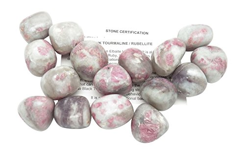 Fundamental RockhoundTM Products: 1 pc Pink Tourmaline in Quartz Tumbled Stone AA Quality Crystal from Brazil (Large (8.1-15 g))
