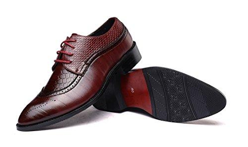 Brogue Amarillo Boda Vestir 37 Negocios 48eu Oxford Zapatos Derby Negro Rojo Cordones Marron Hombre Calzado Cuero qfORntw