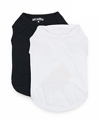 MeowWow Pet Dog Cotton Shirts White Black Puppy T Shirt for Small Dogs, Small, Pack of 2