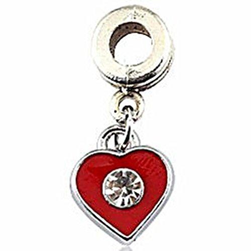 Charm Buddy Red Heart Crystal Rhinestone Pendant Dangle Charm Fits Pandora Style Bracelets
