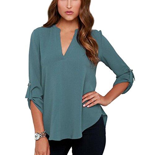 90670dbd1 ... Top para Señoras Blusones Anchas high-quality. Blusas de Vestir Manga  Larga Cuello en V Blusa Gasa Fiesta Camisas Mujer Camisetas Largas Elegantes