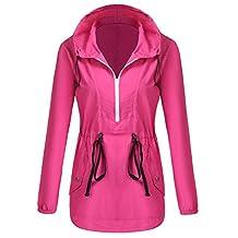 OD'lover Women's Lightweight Waterproof Pullover Windproof Windbreaker Jacket