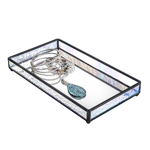 J Devlin TRA 101 Glass Jewelry Tray with Mirrored Bottom Vanity Organizer 9 x 5 x 1 1/4