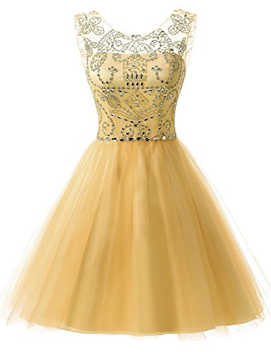 (Sarahbridal Juniors Short Tulle Prom Dress Sweet 16 Beading Sequin Homecoming Gowns Gold US16)