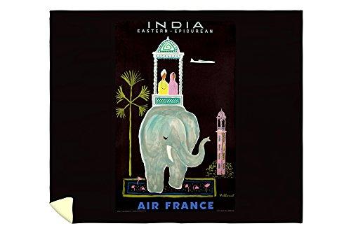 Air France India Vintage Poster (artist: Villemot, Bernard) France c. 1956 (88x104 King Microfiber Duvet Cover) by Lantern Press