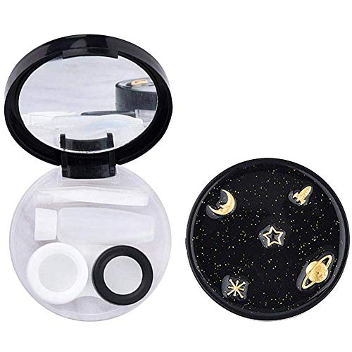 Contact Lens Box Star Contact Lens Travel Case Contact Lens Case Container Holder Storage Box Portable Contact Lens Travel Kits Cute Mini (Round)