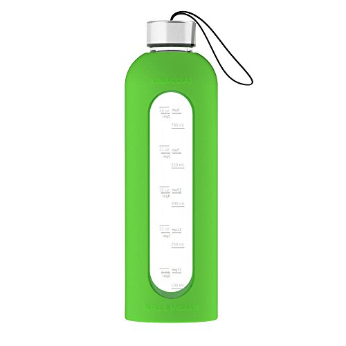 32 Oz Glass Water Bottle Leak Proof Time Marked Reusable Eco Friendly BPA Free Drink More Water Comes With Silicone Sleeve and 2 Stainless Steel Lids - ALL NEW Xtremeglas Hydrate (Green)