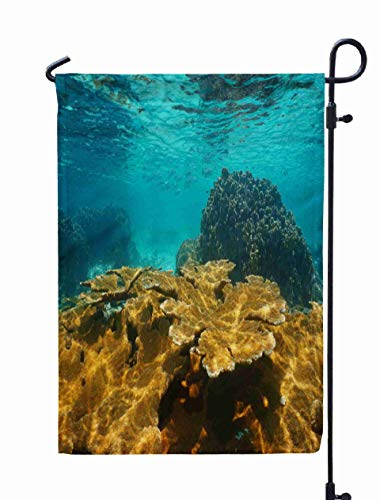 Shorping Welcome Garden Flag, 12x18Inch Sea Underwater Shallow Coral Reef National Marine Park Central America Bastimentos Bocas del Toro for Holiday and Seasonal Double-Sided Printing Yards Flags -