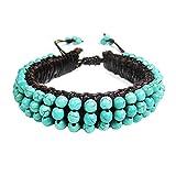 AeraVida Pretty Simulated Turquoise Embellished Leather Adjustable Wrist Pull Bracelet