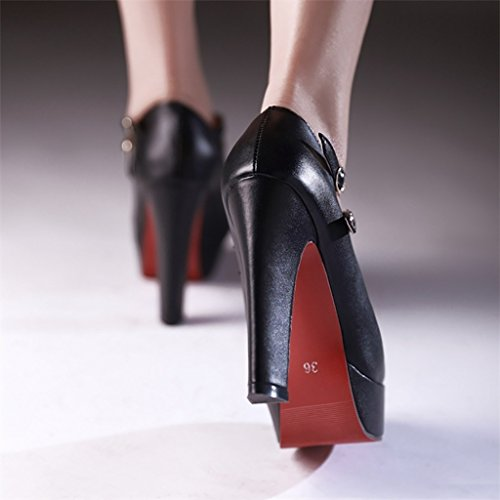 YLLHX Chaussures pour Femmes Quatre Saisons Cuir Nuptiale Plate-Forme Imperméable Demoiselle D'honneur Haut Talon Pointu Danse Professionnel Fée Unique Princesse (Taille : UK3.5/EU36/CN35) D7SAhrGGtA