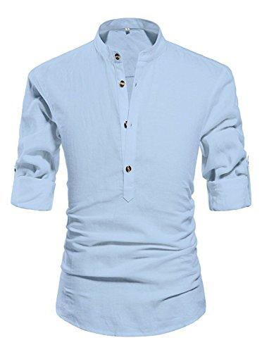 ZYFMAILY Men's Casual Long Sleeve Linen Henley T-Shirt Solid Beach Shirt, Light Blue, Medium