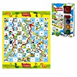 Snakes and Ladders Board Game. A classic game that comes with extra-large pieces and light-up dice roller for added excitement. Large floor game playmat measures 50 x 60 centimetres. Comes bundle with finger spinner for added fun!