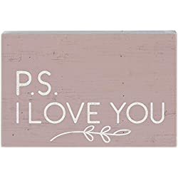 "Simply Said, INC Small Talk Rectangles 3.5""x5.25"" Wood Sign - P.S. I Love You"