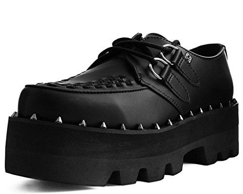 - T.U.K. Shoes A9469 Unisex-Adult Platforms, Black Faux Leather Dino Lug Sole Creeper - US: Men 13 / Women 15 / Black/Rubber