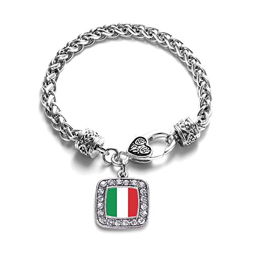 (Italian Flag Italy Pride Charm Classic Silver Plated Square Crystal)