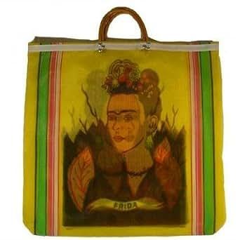 Frida Kahlo Mexican Mesh Market Bag (Yellow)