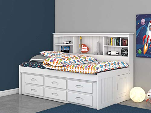 - Discovery World Furniture Twin Bookcase Daybed with 6 Drawers White