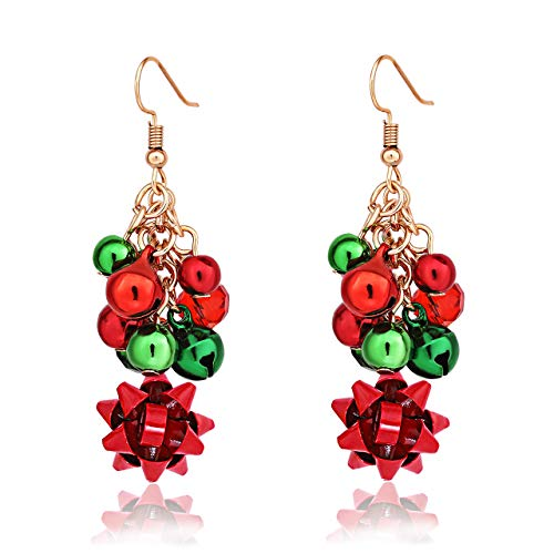 - XOCARTIGE 2PCS Christmas Bell Earrings Festive Xmas Gifts Santa Clause Drop Dangle Earrings for Women Girls (D 1 Pair Bow)