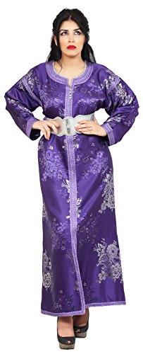 Moroccan Fancy Caftan Women Handmade Embroidery SMALL to LARGE Complimentary Belt Purple by Moroccan Caftans