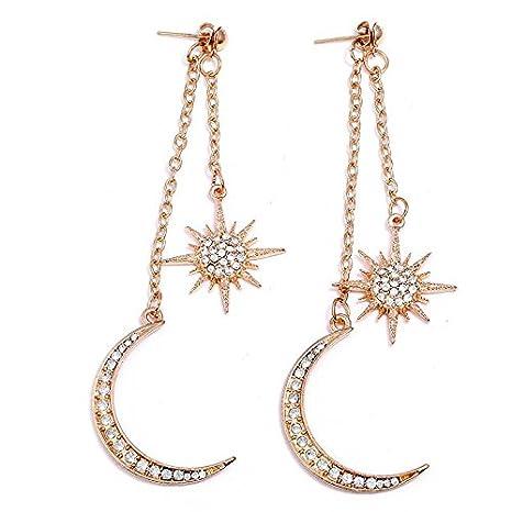 Hipoalergénico Cadena de Moda de Moda Diamante Estrellas de la Luna Largos Flecos Joyería , oro