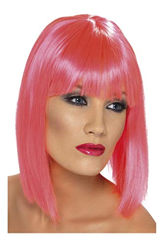Smiffys Women's Short Blunt Cut Neon Pink Fringe Wig, One Size, Glam Wig, -