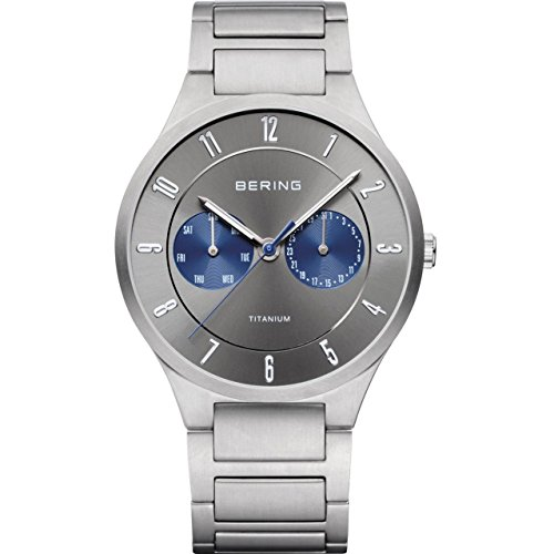 BERING Time 11539-777 Men's Full Titanium Collection Watch with Titan Link Band and scratch resistant sapphire crystal. Designed in Denmark.