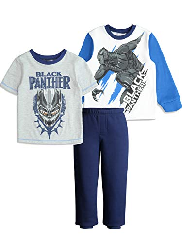 Marvel Avengers Black Panther Toddler Boys' Fleece T-Shirt & Pants 3-Piece Set, White/Blue ()