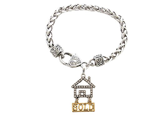 Realtor Sold Real Estate Clear Crystal Gold Silver Bracelet Jewelry Gift Home