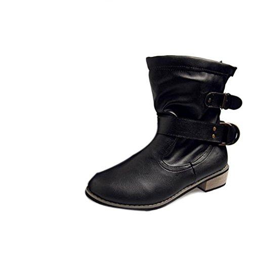 Botas Mujer,Ouneed ® Moda mujer cabeza redonda clásica hebilla botas de invierno Negro