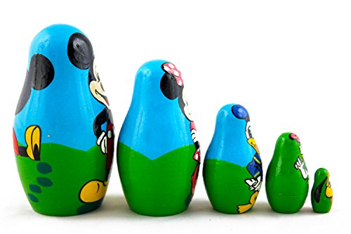 Matryoshka Babushka Russian Nesting Wooden Doll Cartoon Mickey Mouse Minnie Donald Duck Babouska Matrioska Stacking 5 Pcs by MATRYOSHKA&HANDICRAFT (Image #2)