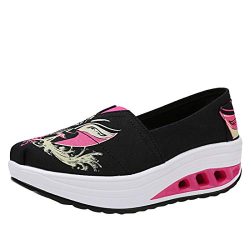 Walking Shoes Printed Trainers Sneakers Platform 2printed Women's Wedge Running Heel Loafers Canvas Flatform LINNUO Driving qZOPwt4