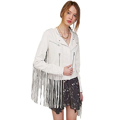 Fringed Womens Motorcycle Jacket - Mlotus Women's Tassel Fringed Coat Faux Leather PU Motorcycle Biker Jacket White L