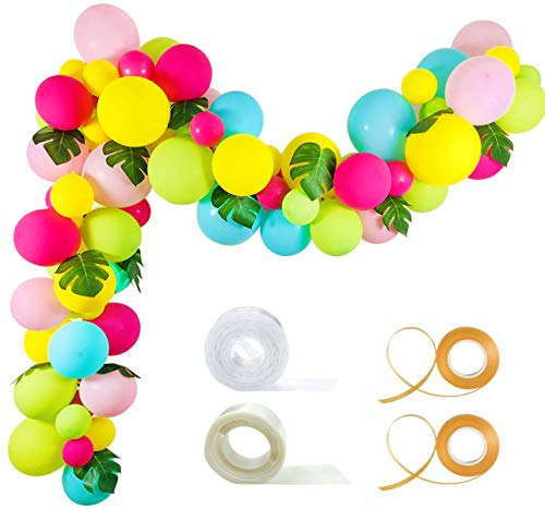 Tropical Balloon Garland Kit - 92 Pack Yellow Aqua Blue Rose Red Fruit Green Baby Pink Balloons Palm Leaves Garland Strip Set for Baby Shower Hawaii Flamingo Luau Party Supplies Birthday Wedding Decor]()