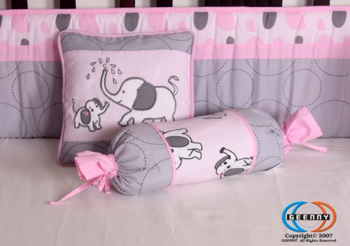 Boutique pink gray elephant 13pcs crib bedding sets in the for Baby mobile pink and grey