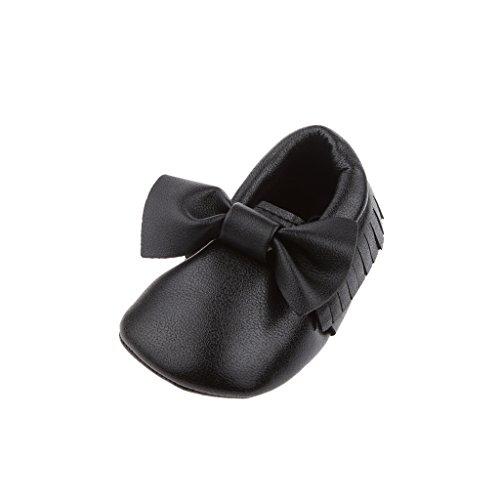 Bowknot De Zapatos Mocasín única Cuna De Cuero Suaves Para Niños Bebé -13cm - Blanco, 12cm Negro