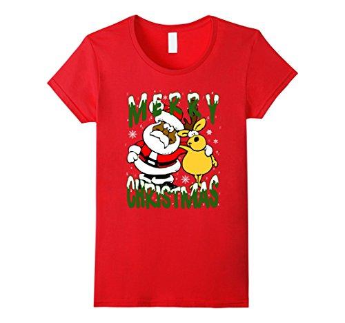 Womens African American Santa Claus T-shirt Black Christmas Reinder XL Red (Reinders Santas)