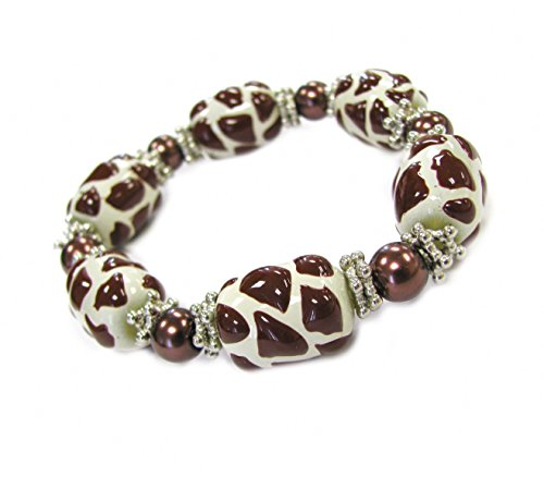 Linpeng Animal Prints 3D Hand Painted Giraffe Skin Glass Beads Stretch Bracelet in Bag, Brown/White