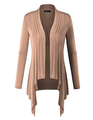 BILY Women Long Sleeve Drape Open Light Weight Jersey Cardigan Light Mocha Medium