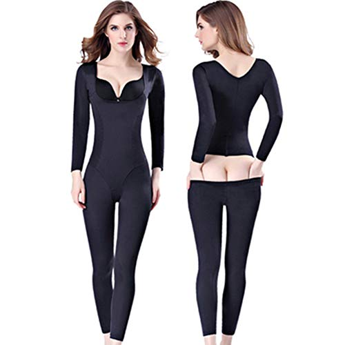 Ninery Ave Full Body Shaper Seamless Bra Lift Shapewear Open Butt Tummy Abdomen Waist Trainer Slim Long Sleeve Bodysuits (Black-No Breasted, M) ()