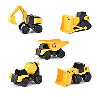 Micro Mini Construction Vehicles – Set of 5 Toy Cars and Trucks for Kids   Birthday Party Gift for Boys   Excavator Bulldozer Dump Truck Cement Mixer   Free Wheeling with Moving Parts – Maxx Action