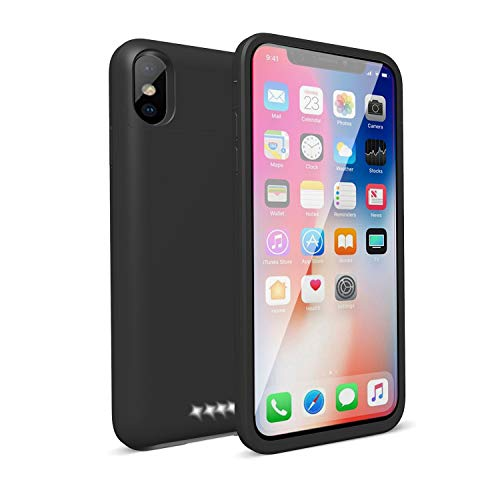 iPhone X Battery Case,Epuirie 5200mAh Portable Slim External Battery Charging Case Support Headphones Battery Pack for Apple iPhone X,iPhone 10(5.8 inch)(Black)