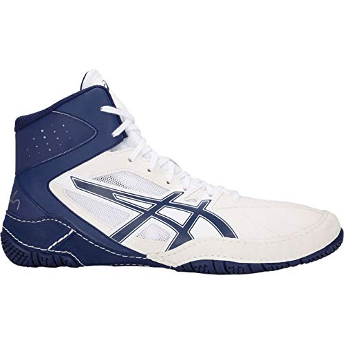 ASICS Men's Cael V8.0 Men's Wrestling Shoe, White/Indigo Blue, 15 M US – Sports Center Store