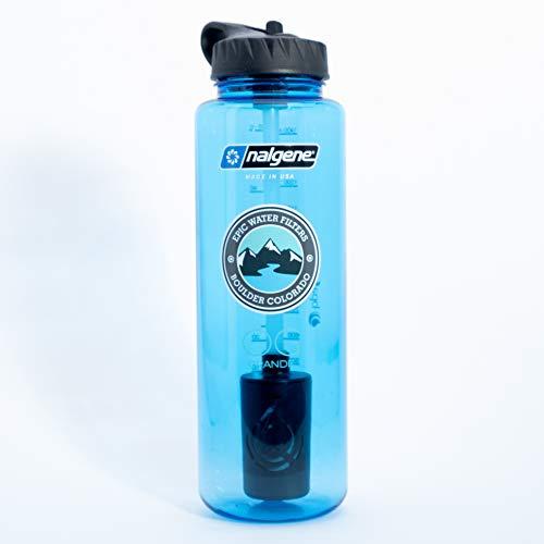 Epic Nalgene OG Grande   Water Filtration Bottle   Wide Mouth 48 oz   USA Made Bottle   American Made Filter Removes 99.99% of Tap Water Contaminants Lead Chlorine Chromium 6 Arsenic Chloroform (Arsenic Removal Filter)