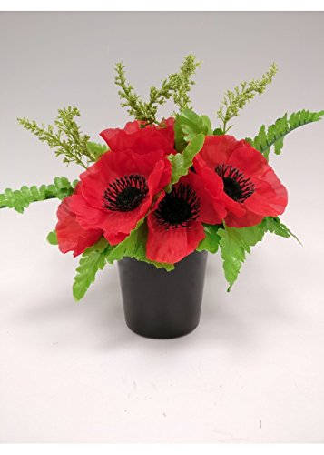 Artificial red poppy foxtail flower arrangement grave pot vase artificial red poppy foxtail flower arrangement grave pot vase insert memorial mightylinksfo