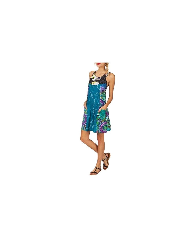 Modeincoton - Short strapless cotton dress wide smocked elastic back 2 pockets round neck Modeincoton RL449 - S-M (36-38-40), Multicolor