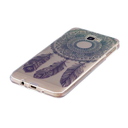 Samsung Galaxy A32016caso claro, caso de goma transparente para Samsung Galaxy A32016, Meet de clara prueba de golpes suave Durable resistente a los arañazos Jelly Goma TPU Funda Carcasa de Piel pa Round flower feathers