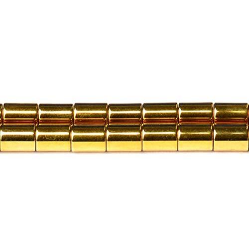 Strand 65+ Gold Hematite (Non Magnetic) 4x6mm Plain Tube Beads D01785 (Charming Beads) (Hematite Tube Bead Magnetic)