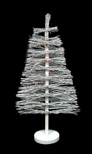 Bethlehem Lighting GKI Pre-Lit White Country Twig Artificial Christmas Tree with Multicolored Lights, 3'
