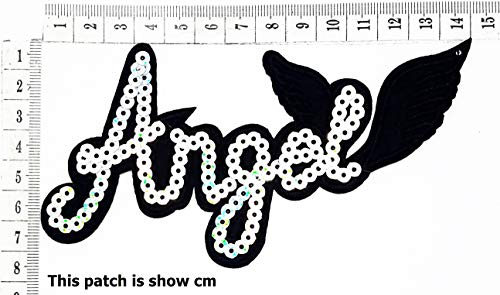 Black Angel Girls Angel Wings Sequins Star Joke Funny Word Cartoon Chidren Kids Embroidren Iron Patch/Logo Sew On Patch Clothes Bag T-Shirt Jeans Biker Badge Applique